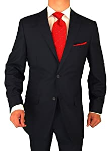 B004FP6V4K Modern Signature Collection Italian Fit Mens Suit Merino Wool 140s Two Button 2pc Jacket Plus Pants Navy (48 Regular)