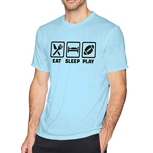 Sky Blue Football T-shirt - Personalized Adult Men's Tees Top Eat Sleep Football T-Shirt Sky Blue