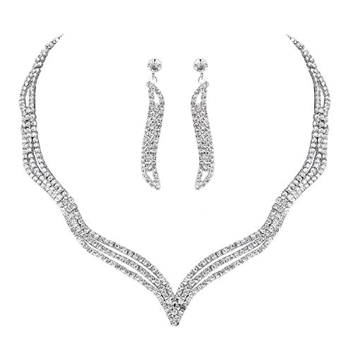 mecresh Wave Clear Jewelery Set for Women or Wedding Austrian Crystal(1 Set Earring,1PCS Necklace) ()
