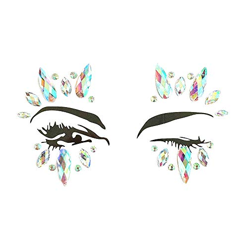 Inverlee 1 Sheet Facial Gems Adhesive Glitter Jewel Tattoos Stickers Wedding Festival Party Body Makeup (D3) ()