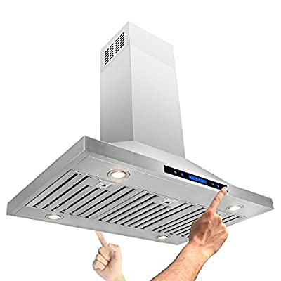 """AKDY® 42"""" Island Mount Stainless Steel Powerful Motor Touch Screen Control Kitchen Vents Range Hood"""