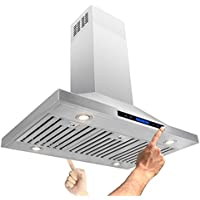 AKDY® 42 Island Mount Stainless Steel Powerful Motor Touch Screen Control Kitchen Vents Range Hood