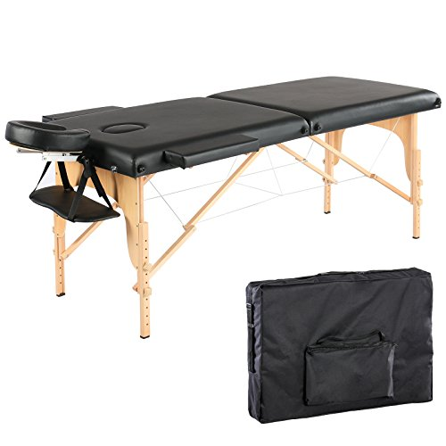 Artechworks 84″ Portable Folding Massage Table Facial Solon Spa Tattoo Bed with Armrest Shelf and Cradle Cover, Black