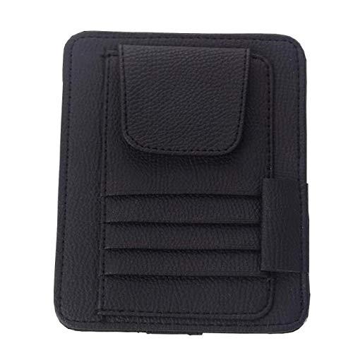 ManLJZ Porta Oggetti in Ecopelle per Auto con 6 Tasche per Carte di Credito,Clip per Biglietti da Visita per Occhiali da Sole Auto con Visiera Automatica