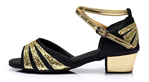 Gold Glittering Strap Satin Latin Dance Shoes for Girls Soft Soled Low Heels(2, Black) by staychicfashion (Image #2)