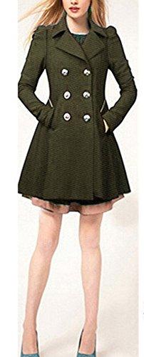Manteau Coat La Veste Armée D'automne Manches Longues Trench Femme Volant Mince Boutonnage Pour Printemps Double Blansdi 2017 Verte Femmes Léger Classique Col Et Modèle wHzEx8