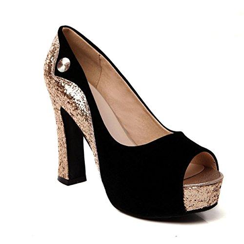 Dance&Style Women's Aconye Platform Mixed Color Glitter Pumps Black 8.5 US