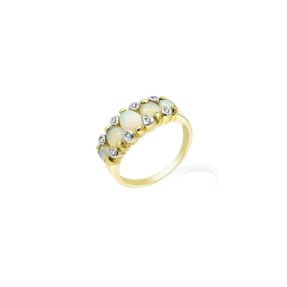 9ct Yellow Gold Opal & Diamond Ring