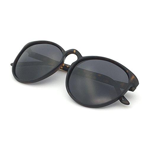 J+S Maya Geeky Retro Round Cat Eyes Matte Finish Oversized Polarized 100%UV Sunglasses for Women (Tortoise Frame Black - Black Erika Sunglasses