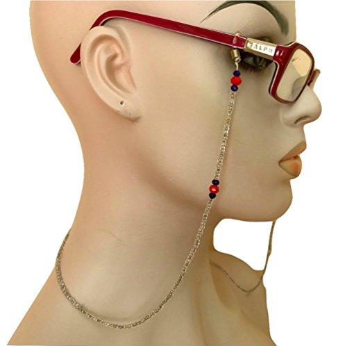 Hand Beaded White Red Blue Eyeglass Chain Holder