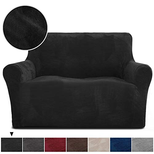 Rose Home Fashion RHF Velvet Loveseat Slipcover Slipcovers for Couches and Loveseats, Loveseat Cover&Couch Cover for Dogs, 1-Piece Sofa Protector(Black -Loveseat) (Set Sofa Suede Black)
