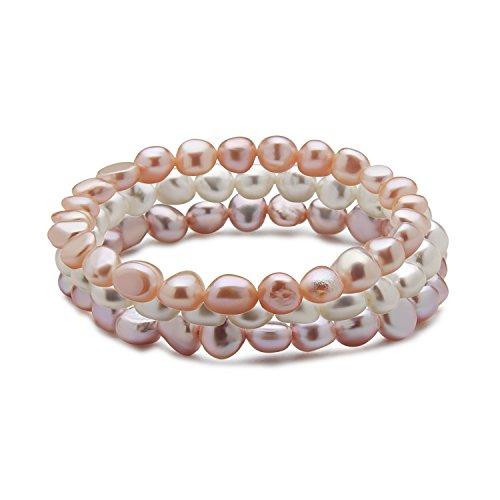 TARA Pearls Set of 3 7-8mm Natural Color Freshwater Cultured Multi Color Pearl Stretch Bracelets, ()