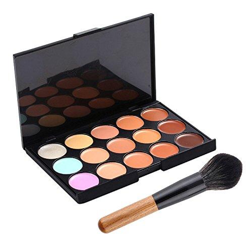 professionellen Make-up-Korrektor 15 Farben Concealer Palette mit Holzgriff Fundament Pinsel Make-up Basis