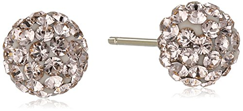 14k Yellow Gold Peach Swarovski Elements Crystal Button Stud (Peach Button Earring)