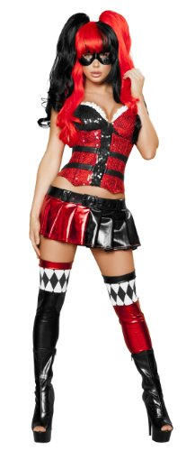 Renaissance Jester Or Clown Costumes (Roma Costume 5 Piece Jester Hottie Costume, Black/Red, Large)