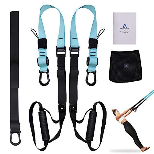 (ANOOPSYCHE Bodyweight Fitness Resistance Trainer Kit with Body Workout Guide, Fitness Training Straps for Home or Professional Complete Body Workout)