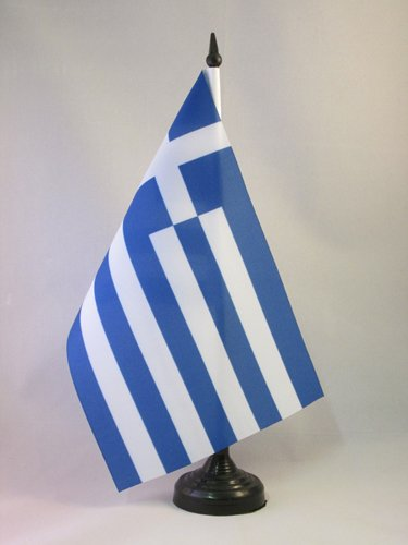 AZ FLAG Greece Table Flag 5 x 8 - Greek Desk Flag 21 x 14 cm - Black Plastic Stick and Base