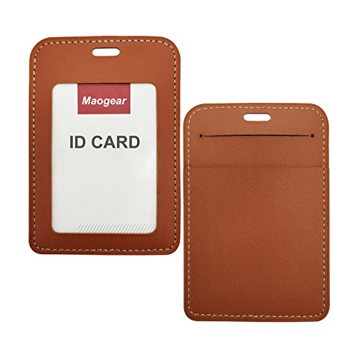 ID Holder PU Leather ID Badge Holder Wallet - Double Sided Name Card Holder with Pockets Clear Viewing Window Id Badge and 20