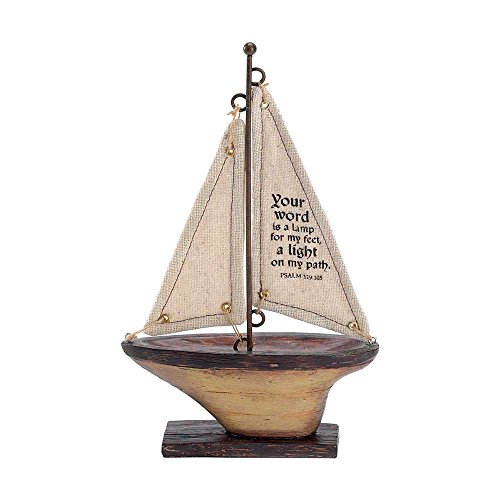Sailboat 9 Inch Figurine with Fabric Sail – Your Word is a Lamp Psalm 119:105