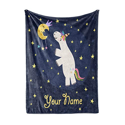 (Personalized Corner Custom Girl Cute Unicorn Fleece Throw Blanket for Kids - Newborn Girls Baby Toddler Infants Blankets for Crib Bed Security Unicorns Elsa (Baby/Pet 30