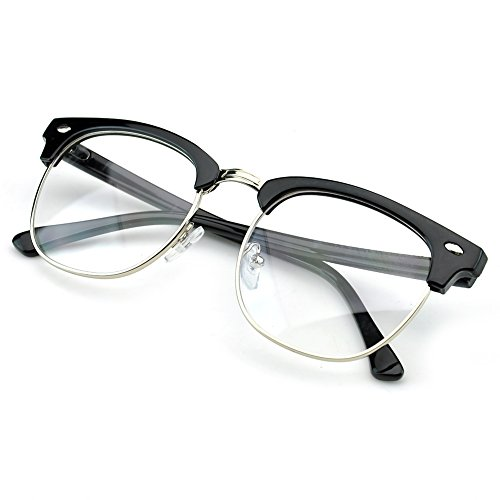 PenSee Vintage Inspired Classic Half Frame Horn Rimmed Clear Lens Glasses - Frames Horn Eyewear