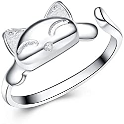 S&E Women's 925 Sterling Silver Rings,Simple Cute Cat Design Opening Finger Ring