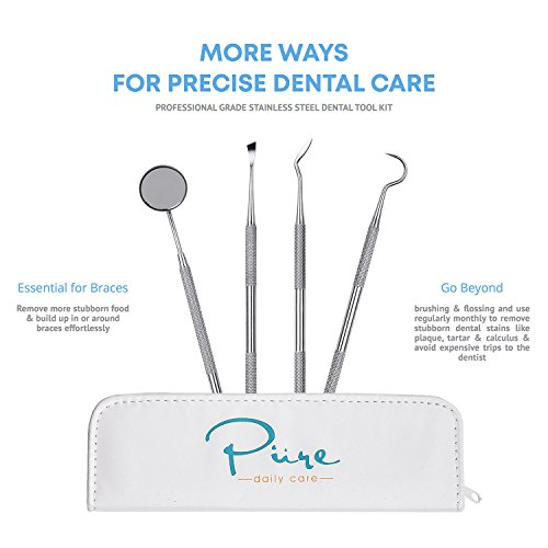 Pure Daily Care Water Flosser with 4 Tips and 4 Piece Dental Kit, White, One Size by Pure Daily Care (Image #6)