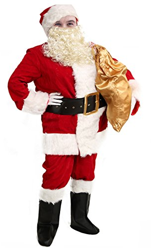 Plush Santa Claus Suit Adult Costumes (Obosoyo Men's Deluxe Santa Suit 10pc. Christmas Ultra Velvet Adult Santa Claus Costume L)