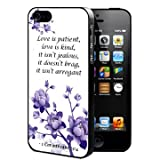 1 Corinthians 13:4 Bible Verse with Purple Flowers (iPhone 4/4s) Rubber Silicone TPU Cell Phone Case