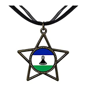 Chicforest Bronze Retro Style Lesotho flag Five Pointed Star Pendant
