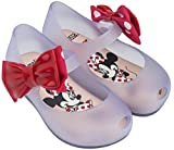 Mini Melissa Girls' Mini Ultragirl + Minnie Ballet Flat, Clear Glass Red, 5 Medium US Toddler