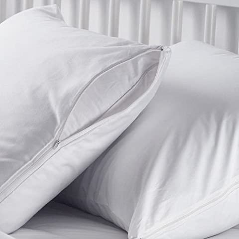 4 White Hotel Hypoallergenic Pillowcase Zippered Bed Bug Protector Covers King (Bedbug Pillowcase)