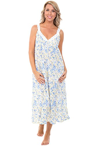 Alexander Del Rossa Womens 100% Cotton Lawn Nightgown, Sleeveless Deep V Gown, Large Blue and Yellow Flowers (100 Cotton Sleeveless)
