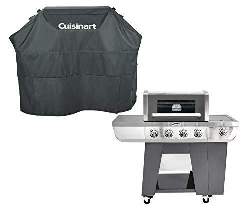 La Rosticceria Cuisinart Four-Burner Deluxe Gas Grill, Ship to Your Home Bundle with 4-5 Burner Gas Grill Cove, Gray