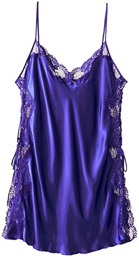 Shirley of Hollywood Women's Plus Charmeuse and Lace Chemise, Electric Blue, 1X (Shirley Hollywood Chemise)