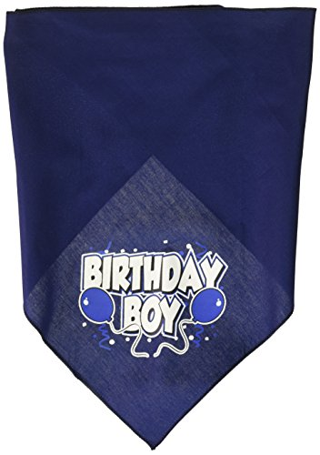 (Mirage Pet Products Birthday Boy Screen Print Bandana for Pets, Large, Navy Blue)