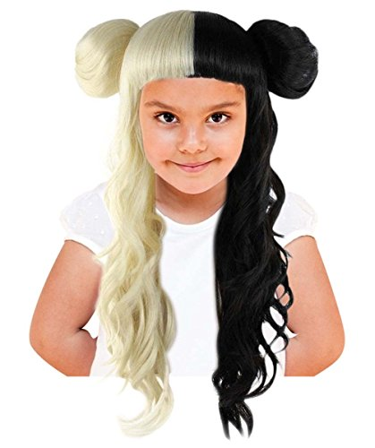 Halloween Party Online Long Curly Two-Toned Wig, Black/Blonde Adult HW-1103 ()