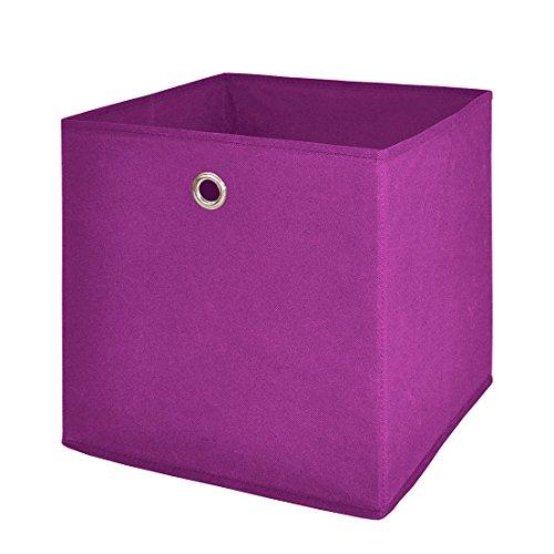 Intertrade 1530 Faltbox 3-er Set Beta 1 Stoff-Optik, 32 x 32 x 32 cm, brombeer