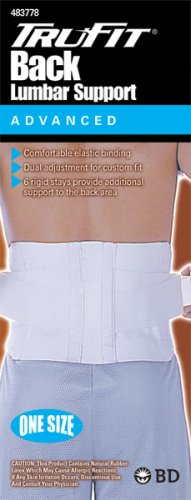 Tru-fit Lumbar Back Support White One Size Fits All, 11 Packages (Tru Fit Back Support)