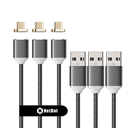 NetDot 3 Pack Upgraded 1m/3.3ft Nylon Bradied USB2.0 Fast Charging Magnetic Micro USB Cable with LED Indicator Compatible with Android Device (3.3FT / 3 Pack Gray)