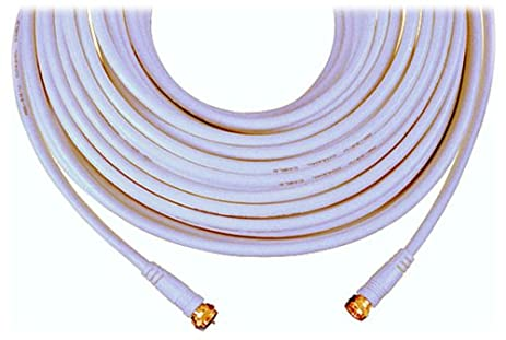 GE 23212 RG59 Coaxial Video Cable with F Plugs at Each End (White, 25
