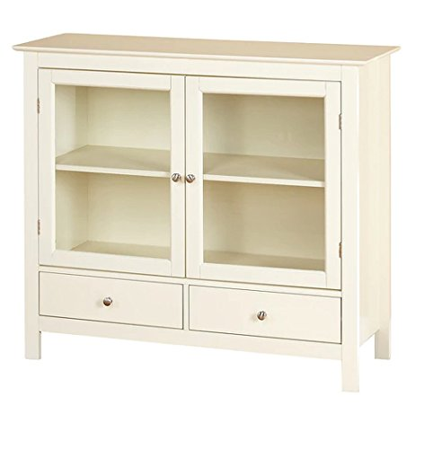 [Antique White Finish Solid Wood Legs/MDF/Tempered Glass Kitchen Cabinet, Overall Dimensions 36Hx42Wx15D] (Antique Bookcase Cabinet)