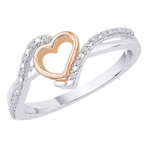 - KATARINA Diamond Heart Ring in Sterling Silver Two Tone (1/20 cttw) (Color-GH, Clarity-I2/I3)