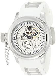 Invicta Women's 1821 Russian Diver Mechanical Silver Skelton Dial White Polyurethane Watch