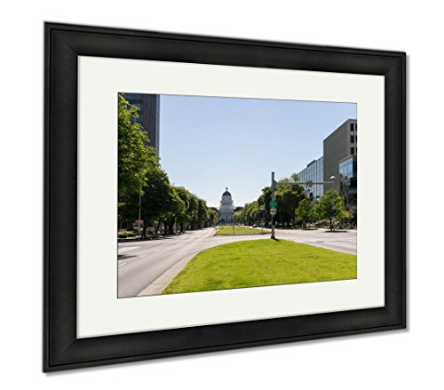 Ashley Framed Prints California State Capitol Building In Sacramento, Modern Room Accent Piece, Color, 34x40 (frame size), Black Frame, - Sacramento Downtown Mall