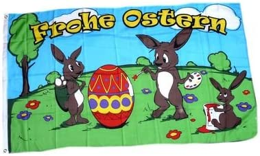Flagge Frohe Ostern Hasen 90 x 150 cm Fahne