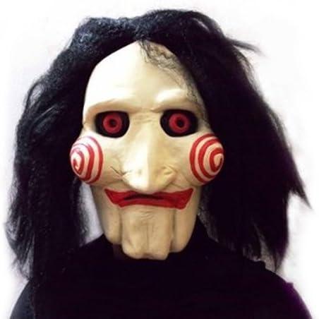 Máscara SAW JIGSAW con pelo sintético - Perfecto para carnaval y Halloween - Disfraz de adulto - Látex, unisex Talla única