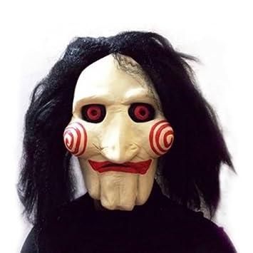 Máscara SAW JIGSAW con pelo sintético - Perfecto para carnaval y Halloween - Disfraz de adulto
