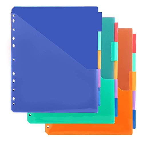 MAKHISTORY Plastic 5-Tab Binder Dividers with Two Pockets - 3 Sets, Insertable Dividers for 3-Ring Binder, Assorted Color