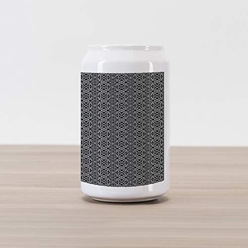 Geometric Cola Can Shape Piggy Bank, Retro Stripy Flooring Tile Design Composed by Chain Linked Squares, Ceramic Cola Shaped Coin Box Money Bank for Cash Saving, Black Grey and White